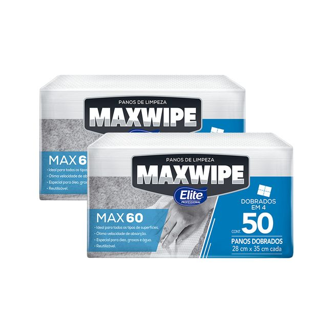 Pano De Limpeza Reutilizável Elite Maxwipe Max60 Interfolhado Com 100 Folhas